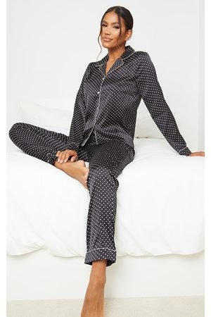 PRETTYLITTLETHING Women Pyjamas - Polka Dot Long Satin PJ Set