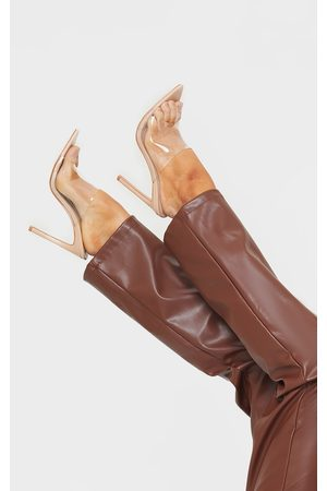 PrettyLittleThing Nude Clear Strap Pu Point Toe High Heels