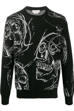Alexander McQueen Men Sweatshirts - Skull-print knitted jumper