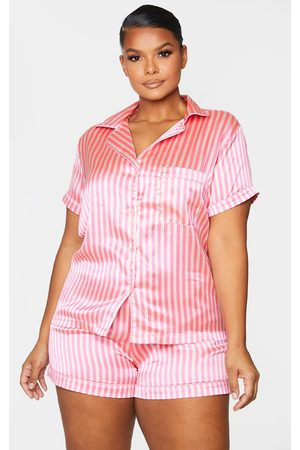 PRETTYLITTLETHING Pyjamas - Plus Satin Stripe Button Up Short PJ Set