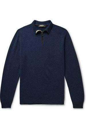 Loro Piana Men Sweaters - Suede-Trimmed Cashmere Half-Zip Sweater
