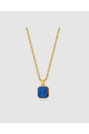Nialaya Men Necklaces - Men's Necklace with Square Lapis Pendant - Jewellery Men's Necklace with Square Lapis Pendant