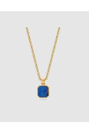 Nialaya Men's Necklace with Square Lapis Pendant - Jewellery Men's Necklace with Square Lapis Pendant