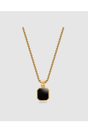 Nialaya Men's Necklace with Square Matte Onyx Pendant - Jewellery Men's Necklace with Square Matte Onyx Pendant