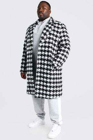 Boohoo Mens Plus Size Houndstooth Longline Overcoat