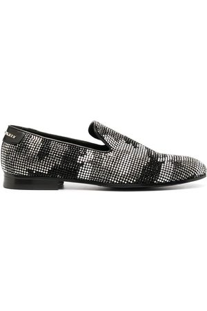 Philipp Plein Embellished camouflage moccasin loafers