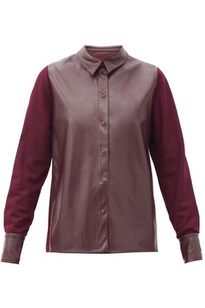 Roksanda Paden Faux-leather And Jersey Shirt - Womens - Burgundy