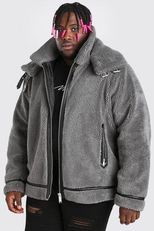 Boohooman Men Winter Jackets - Mens Plus Size Faux Fur Double Collar Aviator