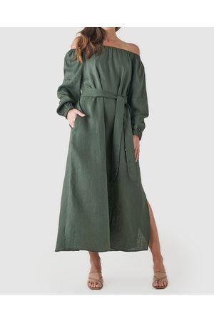 Amelius Tala Linen Maxi Dress - Dresses (Khaki) Tala Linen Maxi Dress