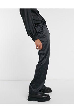 ASOS Wide leg smart pants in sateen pin stripe-Black