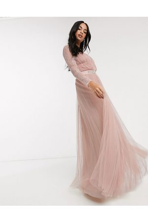 ASOS Lace sleeve plunge tulle maxi dress with embellished waist trim detail in dusty pink