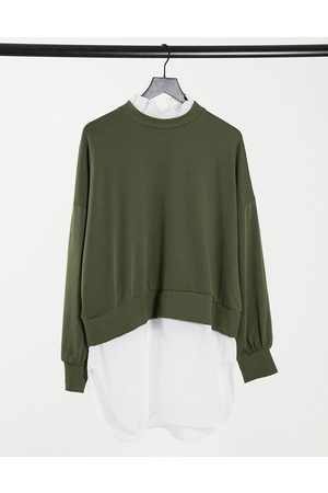 Noisy May Sweater with shirt trims in khaki-Green