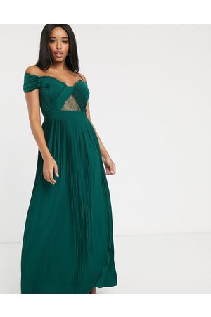 ASOS Fuller Bust premium lace and pleat bardot maxi dress in forest green