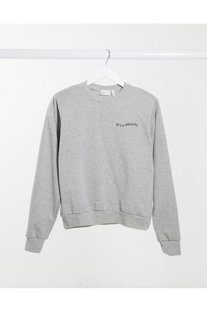 ASOS Sweatshirt with padded shoulder with logo in grey marle
