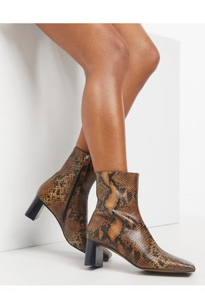ASOS Rain premium square toe leather boots in snake-Multi