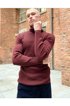 ASOS Muscle fit ribbed roll neck jumper in burgundy-Red