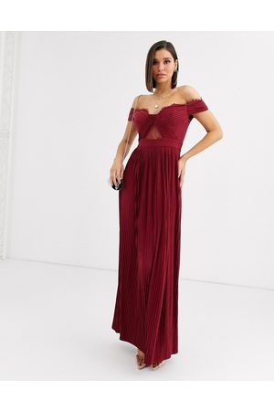 ASOS Premium lace and pleat bardot maxi dress in oxblood-Red