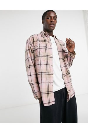 ASOS 90s oversized wool-rich pastel check shirt in multi-Beige