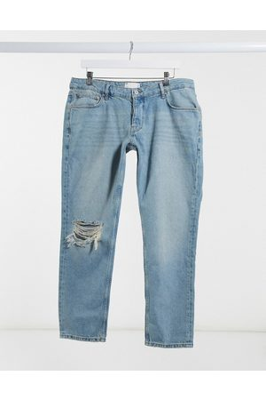 ASOS Low-rise slim jeans in vintage mid 90s wash with knee rip-Blue