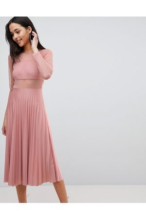 ASOS Pleated dobby and lace top long sleeve midi dress in mink-Beige