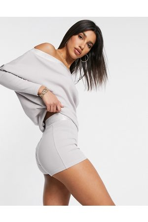 River Island Logo waistband co-ord hot pant shorts in -Neutral