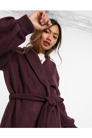 Vila Coat with tie waist and balloon sleeves in purple
