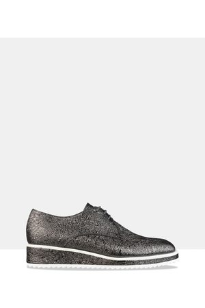 HABBOT Women Loafers - Hunter Lace Up Derby - Flats (Gunmetal) Hunter Lace-Up Derby
