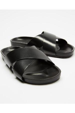 AERE Brunswick Leather Slides - Sandals Brunswick Leather Slides