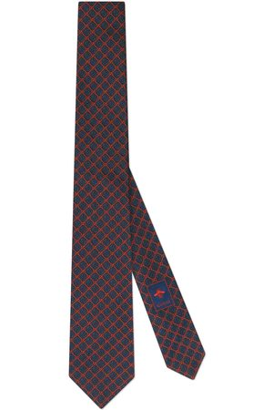 Gucci GG and rhombus motif silk tie