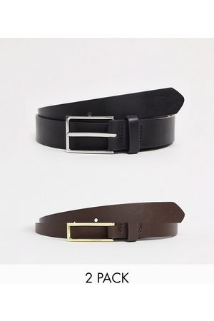 ASOS 2-pack slim belt in black and brown faux leather with silver and gold buckle SAVE-Multi