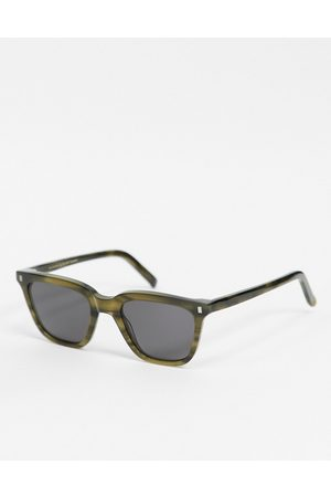 Monokel Eyewear Robotnik unisex square sunglasses in dark green