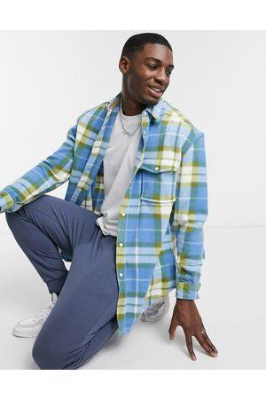 ASOS Men Casual - 90s oversized polar fleece check shirt in blue and white