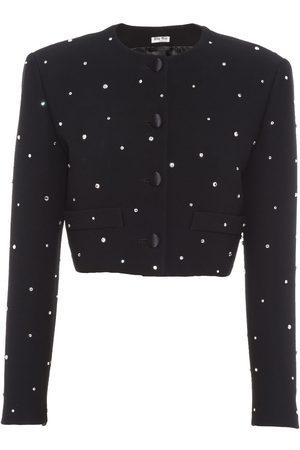 Miu Miu Crystal-embellished cropped jacket
