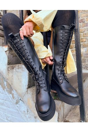 & OTHER STORIES & leather tall lace-up chunky flat boots in black