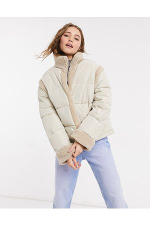 ASOS Borg-panelled puffer jacket in cream