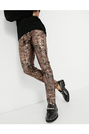 Twisted Tailor Suit pants in copper scale print-Gold