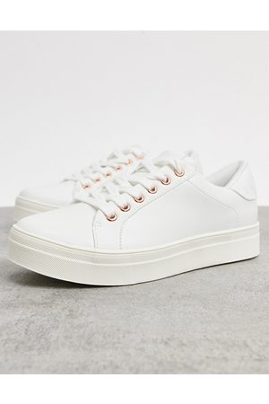 Accessorize Chunky flatform sneakers in white and rose gold
