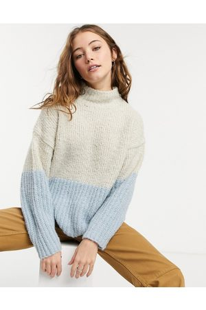 Only High neck textured knit jumper in cream colour block