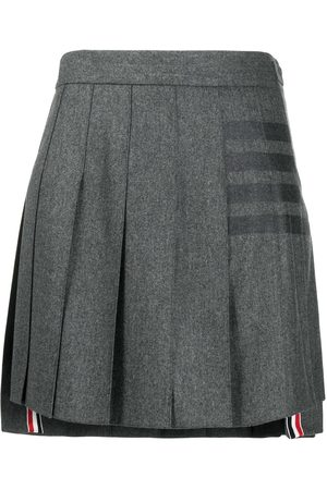 Thom Browne 4-Bar print pleated mini skirt