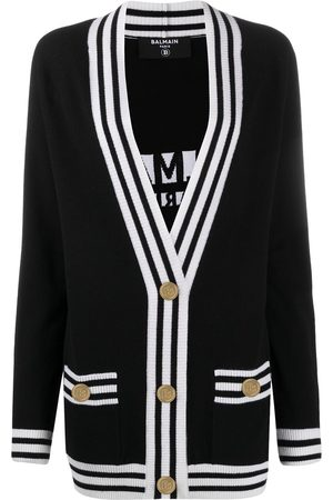 Balmain Stripe-trim longline cardigan