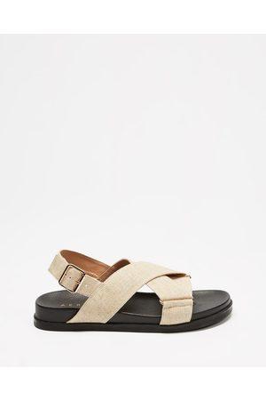 AERE Linen Crossover Footbed Sandals - Sandals (Off Linen) Linen Crossover Footbed Sandals