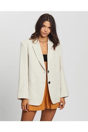 AERE Oversized Linen Blazer - Blazers (Neutral) Oversized Linen Blazer