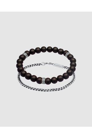 Kuzzoi Men Bracelets - Bracelet Bracelet Set Onyx Stone Curb Chain Masculine in 925 Sterling Silver - Jewellery Bracelet Bracelet Set Onyx Stone Curb Chain Masculine in 925 Sterling Silver