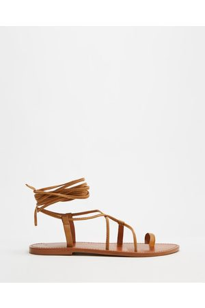 AERE Ankle Tie Leather Sandals - Sandals (Tan Leather) Ankle Tie Leather Sandals