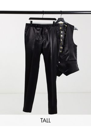 Twisted Tailor Tall suit pants in high shine black