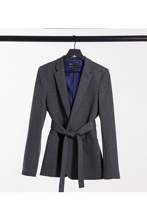 ASOS Tall belted super skinny jersey blazer in charcoal-Grey