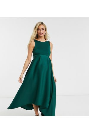 True Violet Maternity Midaxi formal dress with hi-lo hem in forest green
