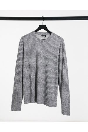 ASOS Long sleeve t-shirt with heavyweight twisted rib in grey