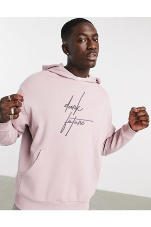 ASOS Dark Future Oversized hoodie in mauve with chest logo-Purple