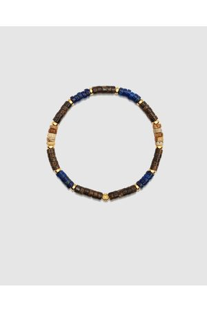 Nialaya Men Bracelets - Men's Wristband with Lapis and Coconut Heishi Beads - Jewellery Men's Wristband with Lapis and Coconut Heishi Beads